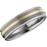 6.3mm Dura Tungsten® Ridged Band with 14KT Yellow Inlay