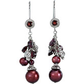 Freshwater Cultured Dyed Pearl & Rhodolite Garnet Earrings
