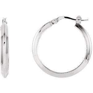 Round Knife Edge Tube Style Hoop Earrings
