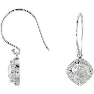 14kt White   1/5 ATW Diamond Earrings