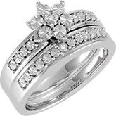 Floral-Inspired Diamond Illusion Engagement Ring or Matching Band