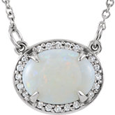 Gemstone & Diamond Halo-Styled Necklace