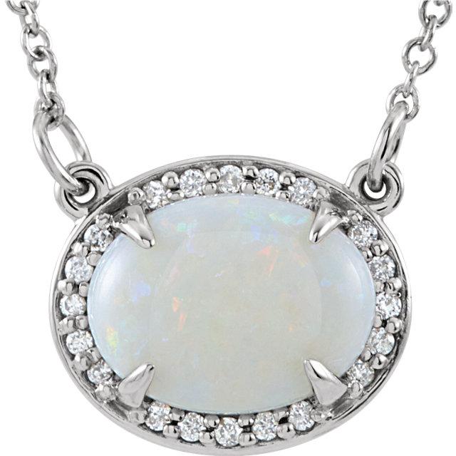 "14kt White 9x7mm Oval Opal & .05 CTW Diamond 16.5"" Necklace"