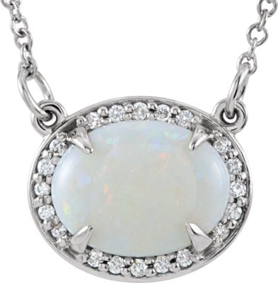 "14kt White 9x7mm Oval Opal & .05 CTW Diamond 16.5"" Necklace"