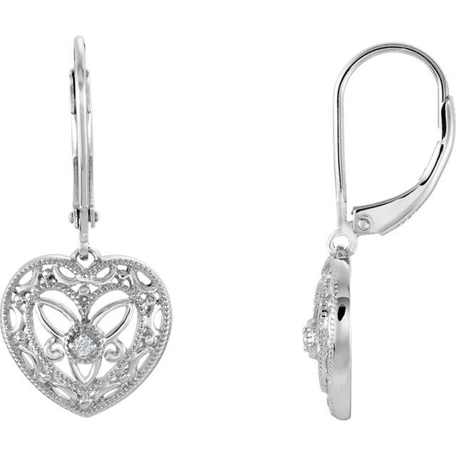 Sterling Silver .02 CTW Diamond Lever Back Earrings