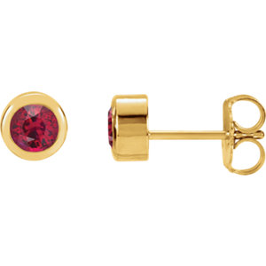 14kt Yellow Ahatham®<br> Areated Ruby Earrings