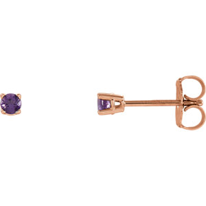 14kt Rose  .5mm Round Amethyst Earrings
