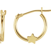 Youth Hoop Earrings with Star