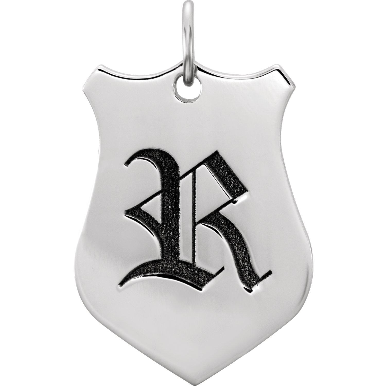 14kt White Engravable Shield Pendant