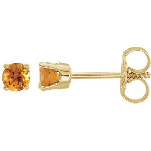 14kt Yellow Aitrine YOuth Earrings