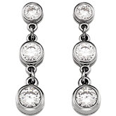 3-Stone Cubic Zirconia Dangle Earring