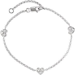 "Sterling Silver White Sapphire Heart 5-7"" Bracelet"