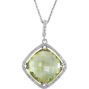 Halo-Styled Antique Square-Shaped Dangle Pendant or Necklace