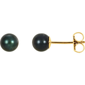 14kt Yellow 5mm Black Akoya Aultured Pearl Earrings