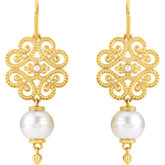 Granulated Design Pearl Earrings