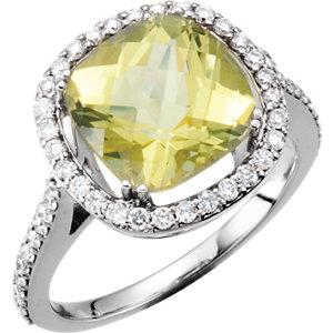 14kt White 1/2 CTW Diamond & 10x10mm Lemon Quartz Ring