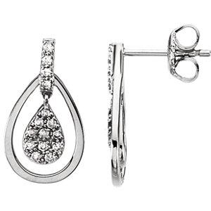 14kt White 1/4 ATW Diamond Earrings