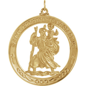 14kt Yellow 38.75mm St. Christopher Medal