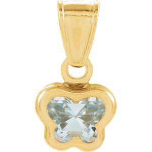 14K Yellow March CZ Birthstone Pendant