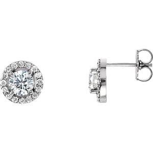 Diamond Halo-Styled Earring, Semi-Mount or Mounting