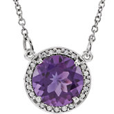 Gemstone & Diamond Halo-Style Necklace or Mounting