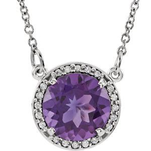 Gemstone & Diamond Halo-Styled Pendant