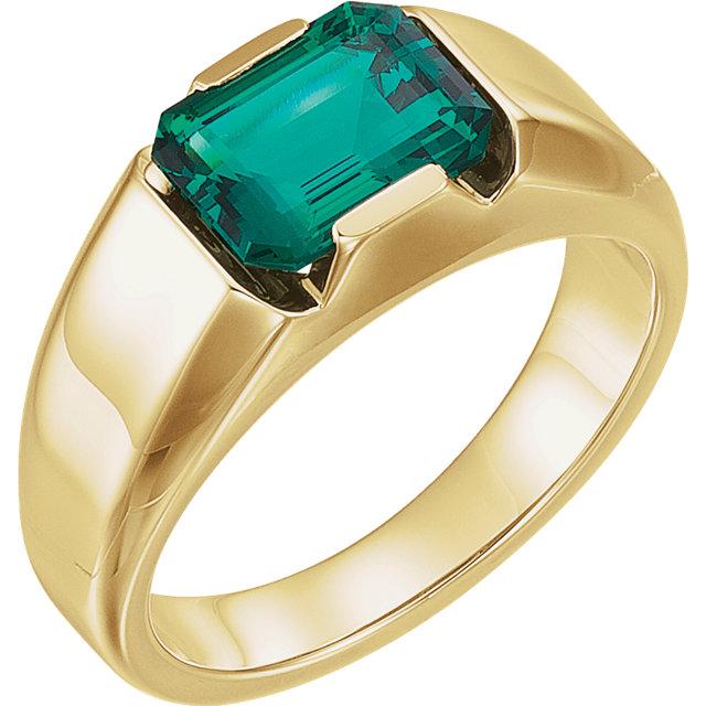 14K Yellow Chatham Created Emerald Men-s Ring