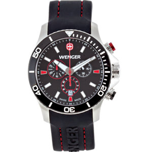 Wenger® Sea Force Black<br> And Red Dial Ahrono Strap<br>
