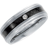 8.3mm Dura Tungsten® Band with .05 ct Diamond & Carbon Fiber Center