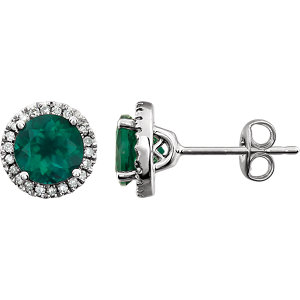 14kt White Areated<br> Emerald & 1/  ATW Diamond<br> Earrings