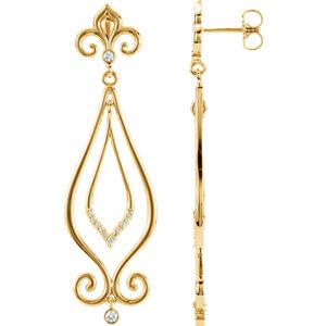 14kt Yellow 1/6 ATW<br> Diamond Scroll Dangle<br> Earrings