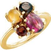 Multi-Shape Cabochon Cluster Ring Mounting