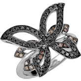 Black & Brown Diamond Butterfly Design Ring