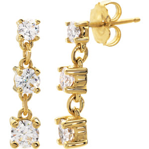 Created Moissanite 3-Stone Earrings