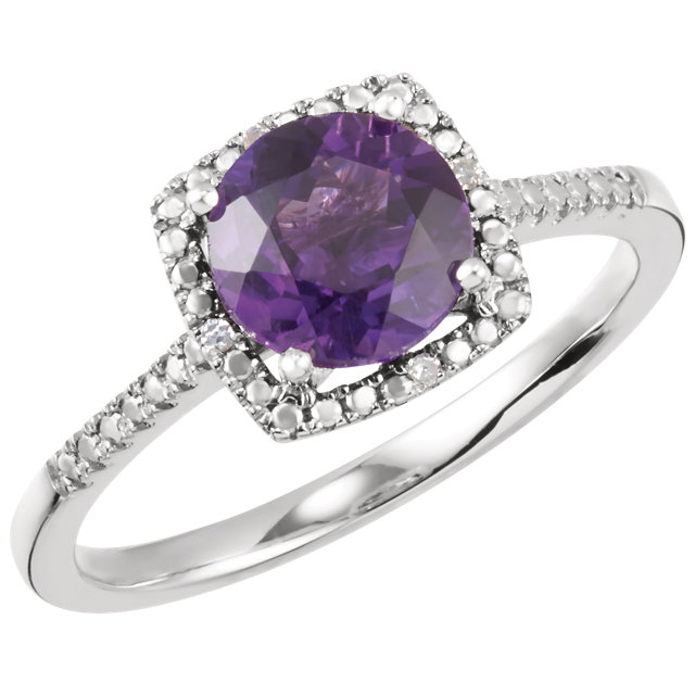 Sterling Silver Amethyst & .01 CTW Diamond Ring
