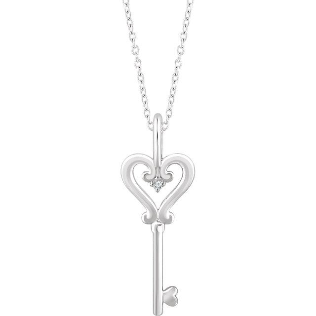 Sterling Silver .006 CT Diamond Key 16-18