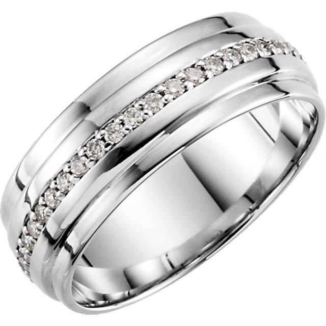14K White 1/3 CTW Diamond Band Size 7