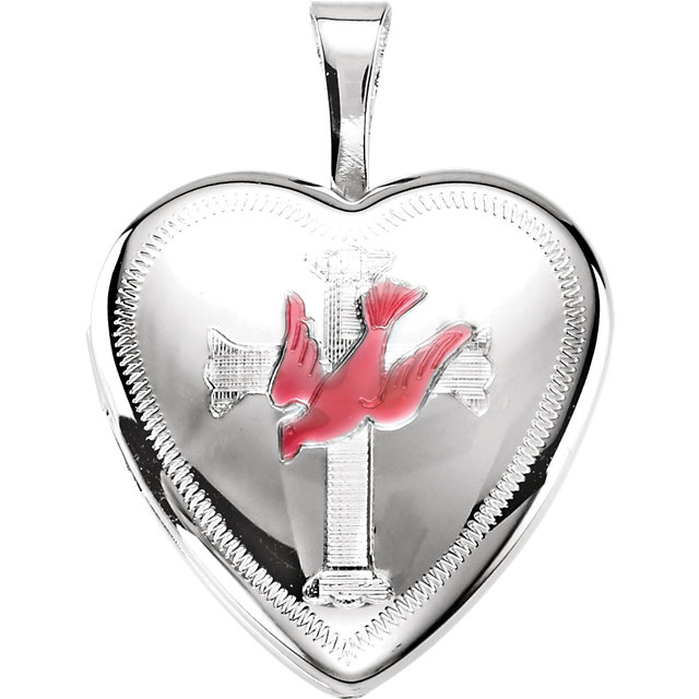 Sterling Silver Dove & Cross Heart Locket with Epoxy