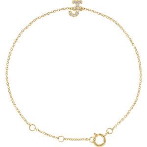 "14K Yellow .05 CTW Diamond Initial ""J"" 6-7"" Bracelet"