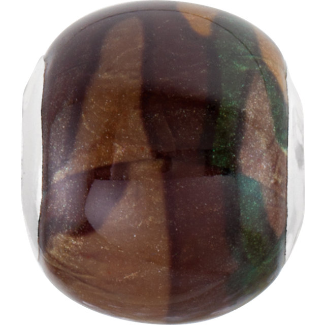Sterling Silver 12x13mm Camouflage Bead