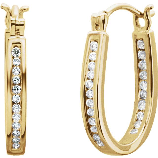 14K Yellow 1/4 CTW Diamond Inside/Outside Hoop Earrings