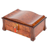 Rustic Burl with Curved Top Jewelry Chest