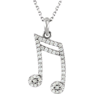 Double Sixteenth Note Diamond Necklace or Mounting