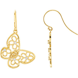 14kt Yellow Pair 1/6 ATW Round Butterfly & Floral Design Earrings