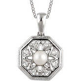 Freshwater Cultured Pearl & .05 ct tw Diamond 18