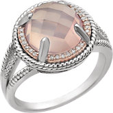 Rose Quartz & Diamond Halo-Style Rope Design Ring