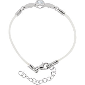 "Sterling Silver BFlower™ White CZ 6.5-7.5"" Nylon Bracelet"