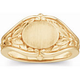 Open Back Oval Leaf Design Signet Ring