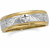 7mm Tapered Circle & Cross Wedding Band