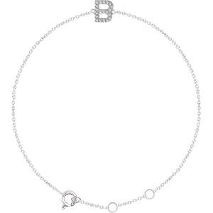 "14K White .07 CTW Diamond Initial ""B"" 6-7"" Bracelet"